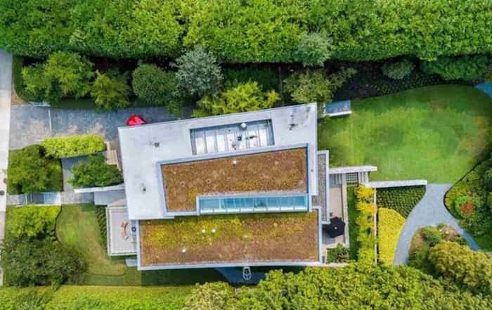 This aerial shot shows the home's green roof and row of skylights. Listing agent: Faith Wilson