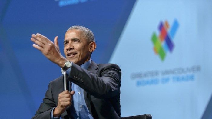 The Greater Vancouver Board of Trade hosted the 44th President of the United States, Barack Obama, in Vancouver on March 5, 2019. The event drew a sold-out crowd of more than 3,500 people to the Vancouver Convention Centre West for a moderated conversation between President Obama and the Board of Trade's President and CEO, Iain Black. Photo via Business In Vancouver