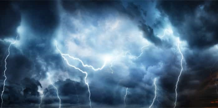 Lightning thunderstorm flash / Shutterstock