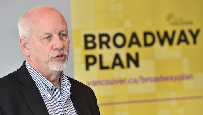 Gil Kelley, the City of Vancouver's chief planner, launched the Broadway Plan at a Feb. 6 press conference. Open houses start March 7 and run until March 14. Photo by Dan Toulgoet