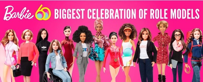 Barbie is celebrating its 60th anniversary with a line of role model dolls, including Olympic champion Tessa Virtue (fifth from the left). Photo Barbie