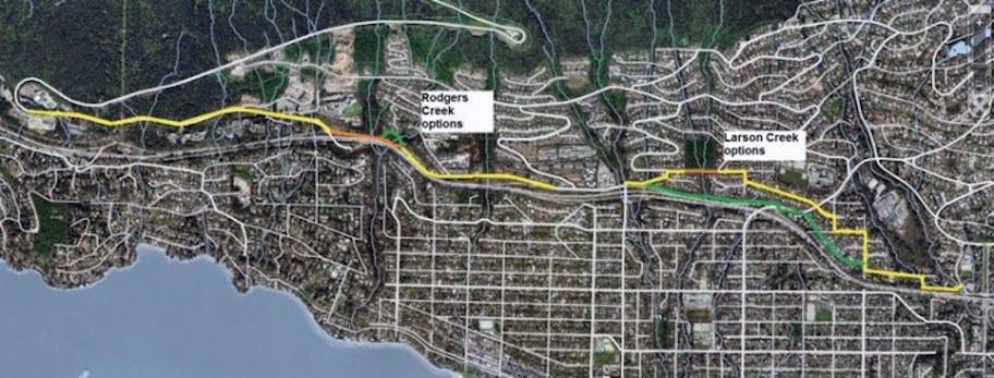 The proposed route for the new Upper Levels Trail through West Vancouver. Photo supplied.