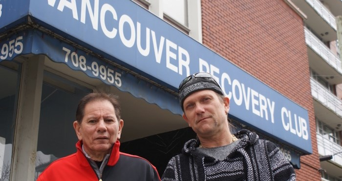 Bill Wong (left) and Tim Pittmann of the Vancouver Recovery Club say the City of Vancouver's cutting club funding will put addicts' lives at risk as the facility will no longer be able to operate 24 hours a day. Photo by Jeremy Hainsworth