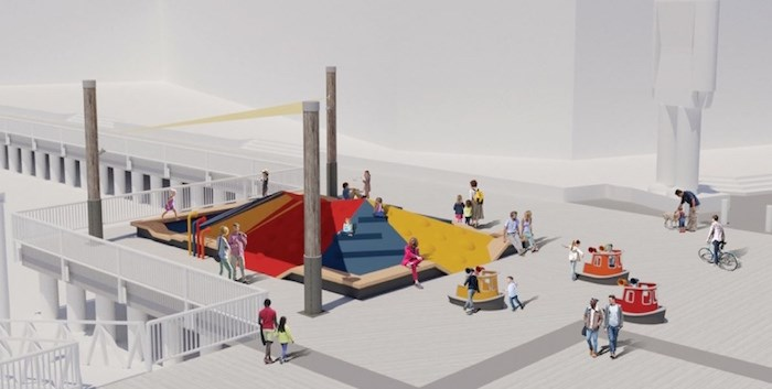 An artists rendering shows the future play area that will replace Tugger on Westminster Quay. The tugboat structure, located next to River Market and Discovery Centre since 1986, is corroding and needs to be removed. Image contributed.