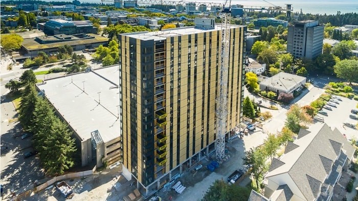Brock Commons is an 18-storey student residential building at UBC made out of cross-laminated timber. Image via YouTube