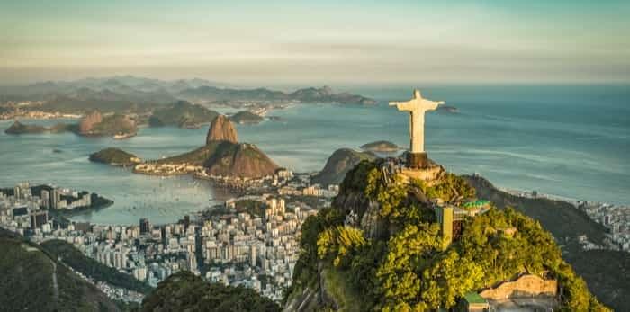Aerial panorama of Christ and Sugar Loaf Mountain, Rio De Janeiro, Brazil / Shutterstock