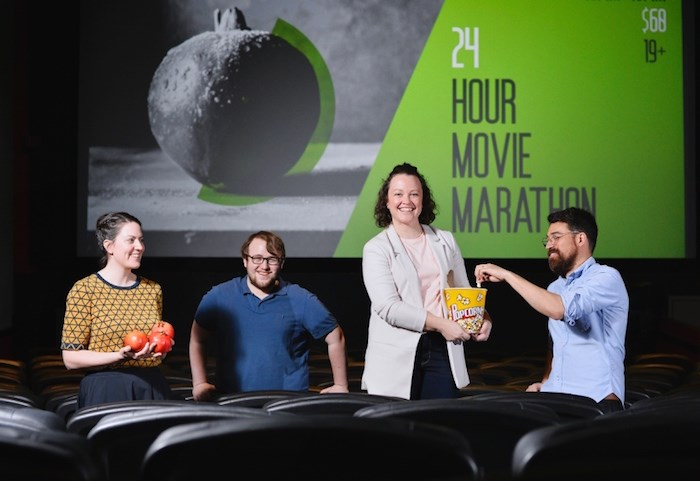 Cinematheque staffers Lizzie Brotherston, Isaac Renert, Kate Ladyshewsky and Shaun Inouye while be in need of serious caffeine this weekend as they attempt to push through 24 hours' worth of continuous films. Photo by Jennifer Gauthier