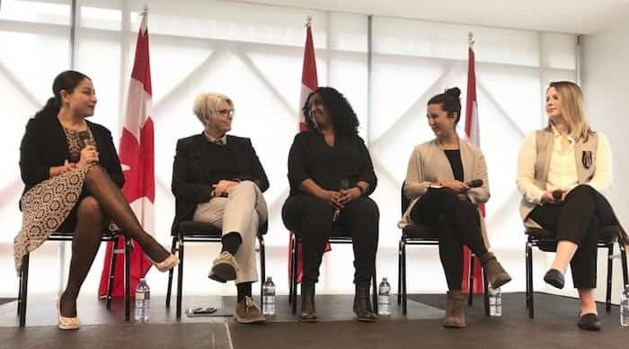 From left: Maryam Monsef, federal minister for women and gender equality, speaks with Tracy Porteous, executive director of Ending Violence Association of B.C., Mebrat Beyene, executive director of WISH Drop-In Centre, Kasari Govender, executive director of West Coast LEAF and Colette Trudeau with the Métis Provincial Council of British Columbia. Photo Jessica Kerr
