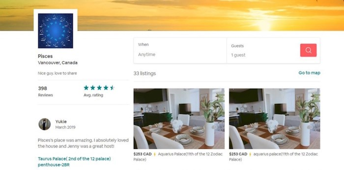 An Airbnb user called Pisces has 26 listings in Richmond. Screenshot.