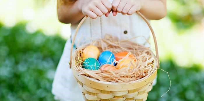 Close up of colourful Easter eggs in a basket / Shutterstock