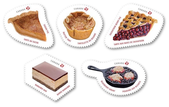 Clockwise from top left: The Sweet Canada stamp issue features sugar pie from Quebec, butter tarts from Ontario, Saskatoon berry pie from the Prairies, blueberry grunt from the East Coast, and Nanaimo bars. Photograph courtesy Canada Post