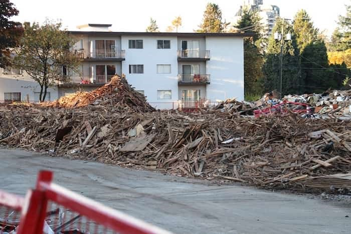 Low-rise housing blocks near Metrotown are being demolished as part of the City of Burnaby's plan to turn Metrotown into downtown.