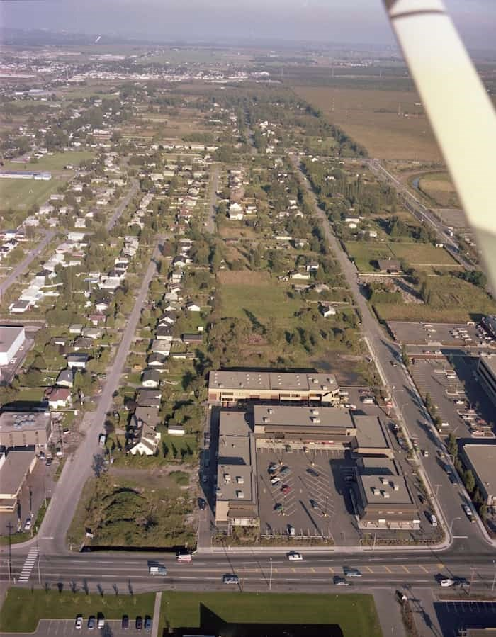 This aerial photograph was taken in 1978 looking east straight down Alexandra from No. 3 Road. Photo: Richmond Archives Photograph #1988 10 606.