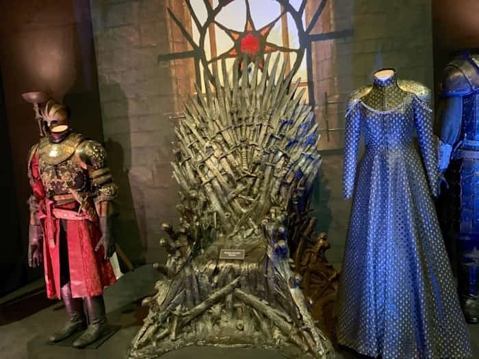 The Iron Throne, and key costumes, on display at Game of Thrones: The Touring Exhibition in Belfast. Photo Jennifer Bain