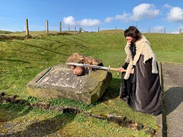 Belfast-based tour guide Dee Morgan, right, hams it up on a Game of Thrones tour of Northern Ireland. Photo Jennifer Bain