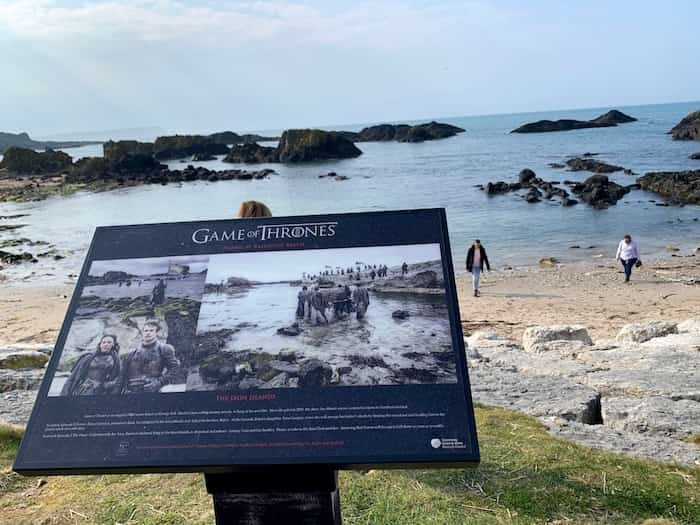 Whenever you find a key Game of Thrones filiming location in Northern Ireland, there will be a plaque like this one in Ballintoy (the Iron Islands). Photo Jennifer Bain
