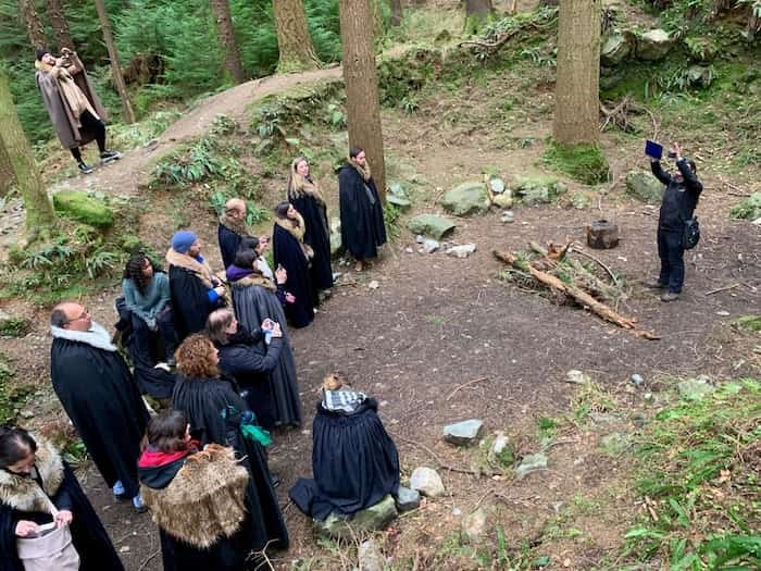 Robbie Atkinson of Game of Thrones Tours shows off the Tollymore Forest area used as a wildling pit. Photo Jennifer Bain
