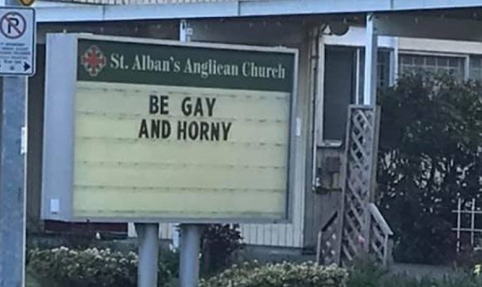 The sign at St. Alban's Anglican Church in Richmond read