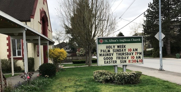 The St. Alban's sign has changed back to its regular message. Photo via Richmond News