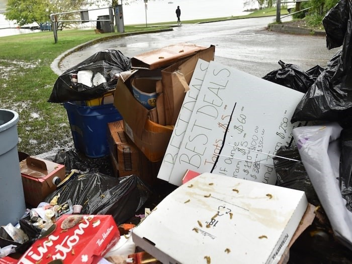A  pile of garbage waited to be picked up near the entrance to Sunset Beach Park parking lot on April 22. Photo Dan Toulgoet