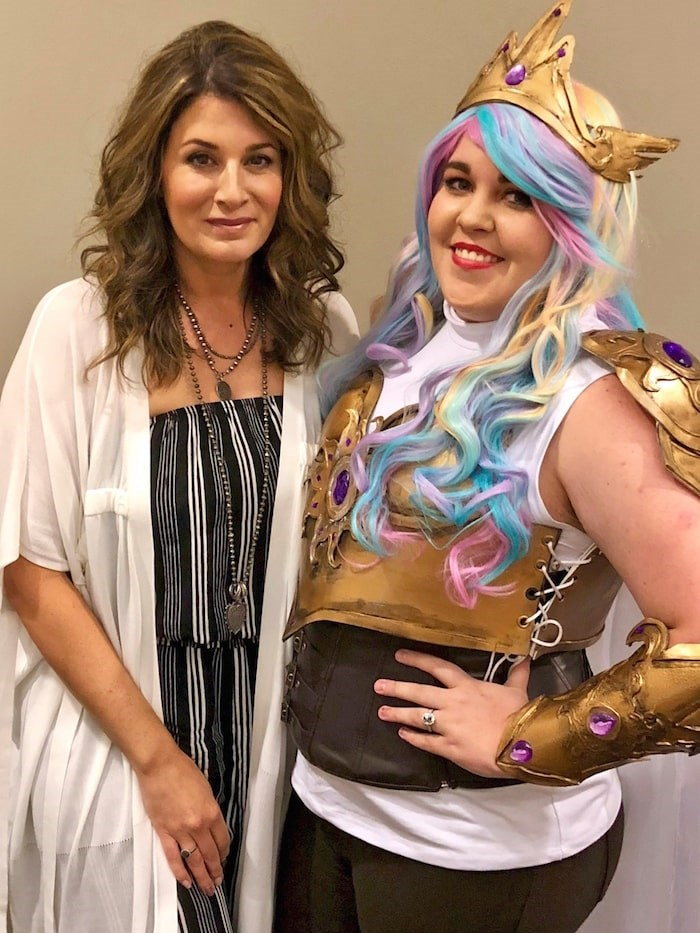 My Little Pony: Friendship is Magic voice actor Nicole Oliver with one of her many adoring fans.