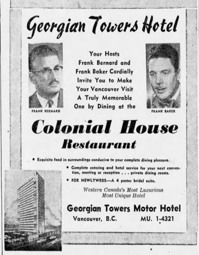 Vancouver Sun ad dated Nov. 29, 1958.