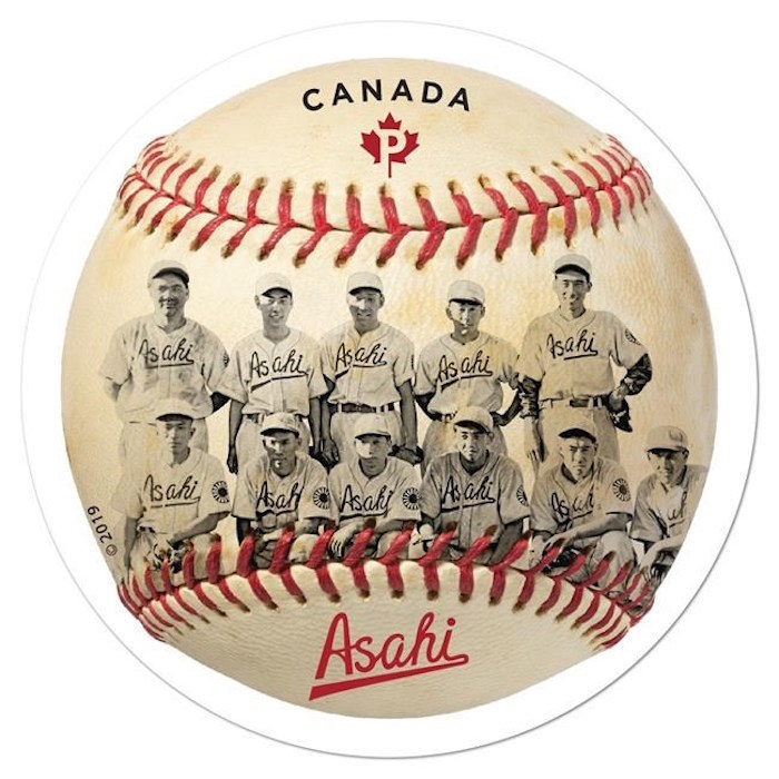 A new Canada Post stamp, shown in a handout, honours an amateur Japanese-Canadian baseball team that used sport to battle racism and discrimination.The Vancouver Asahi formed in 1914 and thrilled fans in the city until 1941 when it was disbanded during the Second World War as Canada interned more than 20,000 people, most of them Canadians of Japanese descent. THE CANADIAN PRESS/HO-Canada Post