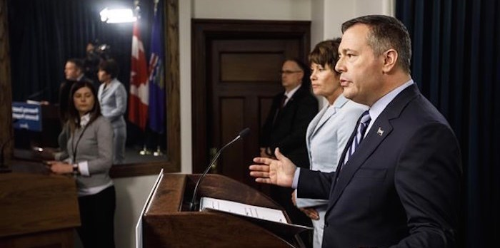 Alberta Premier Jason Kenney and Minister of Energy Sonya Savage discuss preserving Canada's economic prosperity act, which enables Alberta to restrict energy exports, during a press conference, in Edmonton on Wednesday May 1, 2019. THE CANADIAN PRESS/Jason Franson