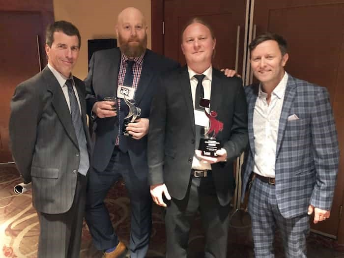 Sharp dressed men of the Vancouver Courier: Dan Toulgoet, Michael Kissinger, John Kurucz and Grant Lawrence attended the annual Ma Murray Awards and lived to tell about it.