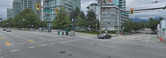 Intersection at West Georgia Street & Cardero Street (Google Maps)