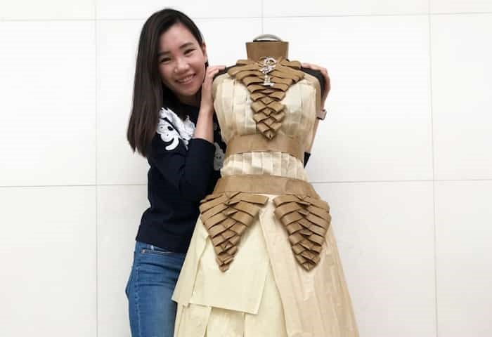 Juliana Shih with her paper recreation of a Chanel gown.