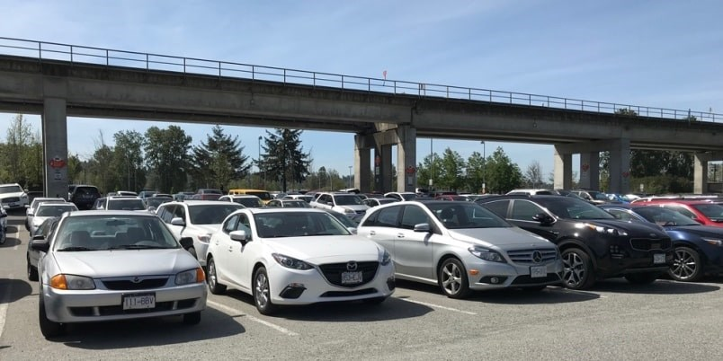 The Scott Road lot is one of 20 park and ride locations across Metro Vancouver serving SkyTrain, West Coast Express and major bus loops. Photo by Sandor Gyarmati.
