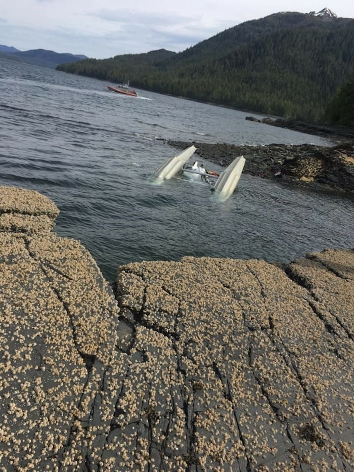 Image of a downed plane following the crash in Alaska Monday. Photo: United States Coast Guard