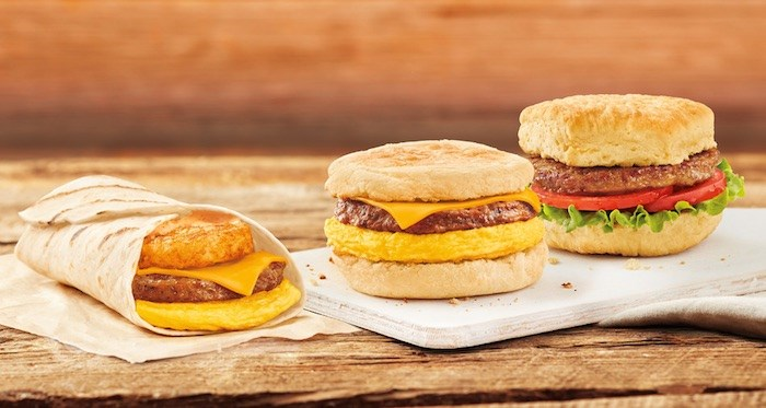 Three breakfast sandwiches at Tim Hortons will use the Beyond Meat Sausage patty. Photo courtesy Tim Hortons.