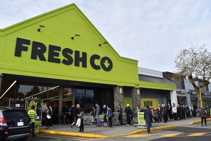 Massive line ups outside FreshCo's Blundell location. Photo by Alvin Chow.