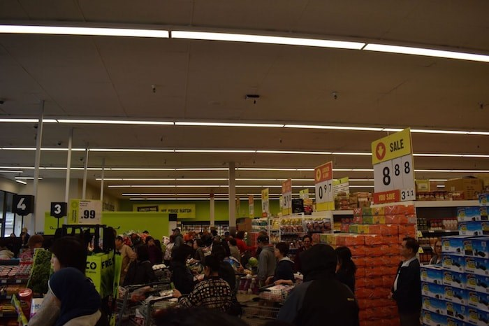 Huge lineups to the check outs inside FreshCo's Blundell location. Photo by Alvin Chow