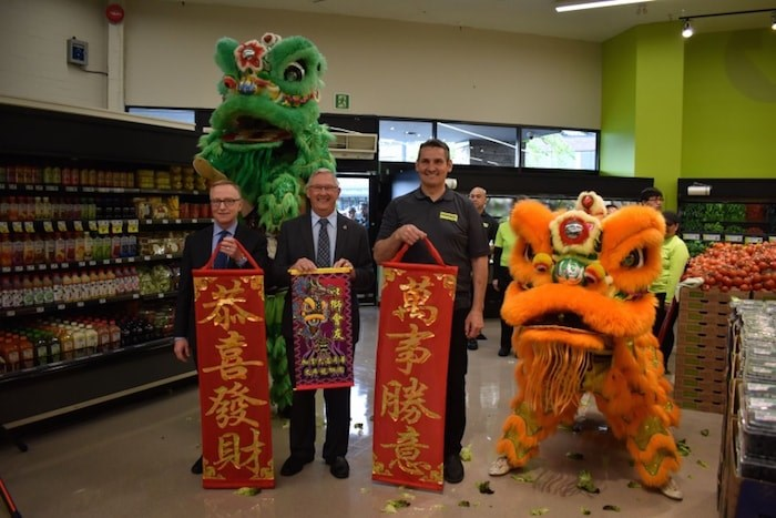 FreshCo's Broadmoor location celebrates its opening with a lion dance. Photo by Alvin Chow