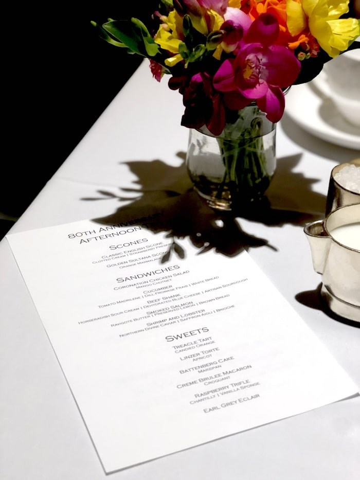 80th Anniversary Afternoon Tea menu. Photo by Lindsay William-Ross/Vancouver Is Awesome