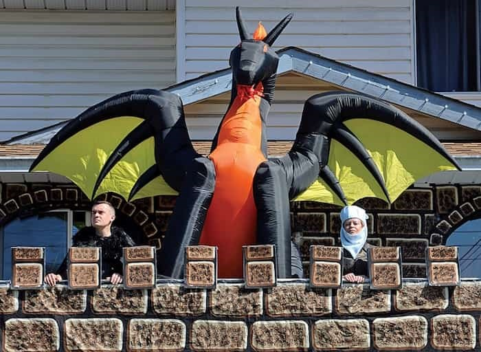 Leanne Lebel and her son Scott stand guard outside their Blueridge home ahead of the final episode of Games of Thrones, May 19. photo Cindy Goodman, North Shore News