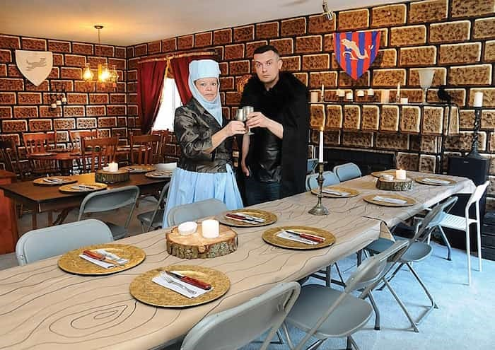 Leanne Lebel and son Scott toast the end of Game of Thrones with a meat and mead party on May 19. photo Cindy Goodman, North Shore News