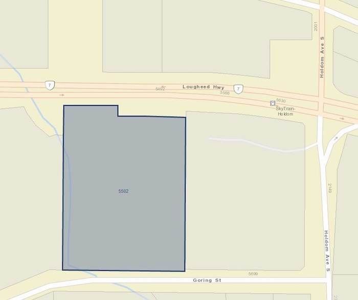 The Brentwood Lanes property is at 5502 Lougheed Hwy., close to the Holdom SkyTrain Station. - BC Assessment
