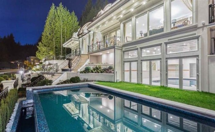 This palatial home in West Vancouver was listed for $16.8 million in 2016 and sold in spring 2019 for $8 million. Image via MLS