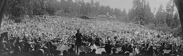 The VSO performs at Malkin Bowl in Stanley Park, July 1934. - Photo by Vancouver Symphony Orchestra