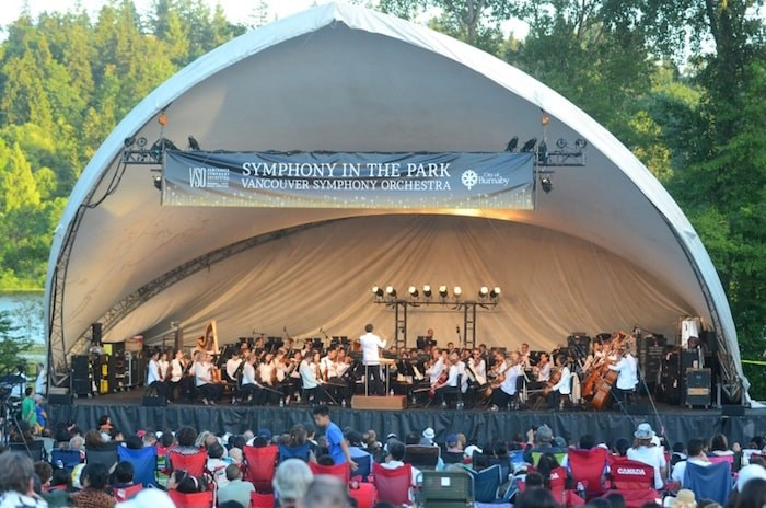 he Vancouver Symphony Orchestra returns to Deer Lake Park for its free outdoor concert on June 30. Burnaby NOW file photo