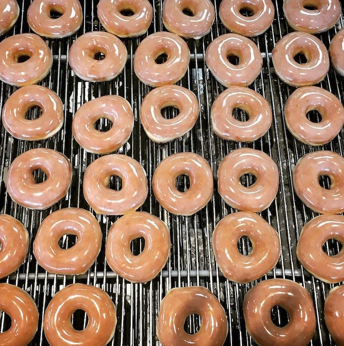 Original glazed doughnuts at Krispy Kreme. The only location in B.C. is in North Delta.