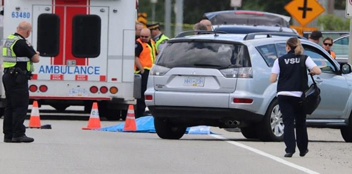 The scene on Thursday on Marine Way near Boundary Road in Burnaby. A 75-year-old pedestrian died. Photo: Shane MacKichan