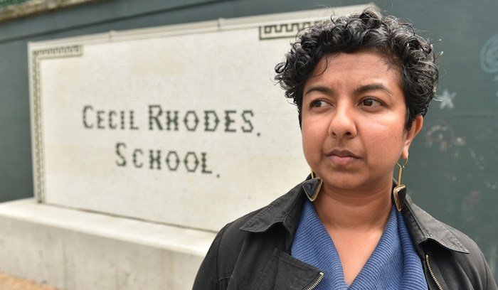 OneCity trustee Jennifer Reddy wants this sign removed from L'Ecole Bilingue. Photo by Dan Toulgoet/Vancouver Courier
