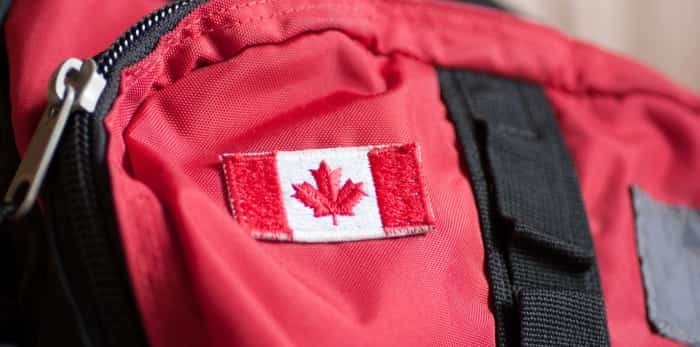 Canadian flag on a backpack / Shutterstock