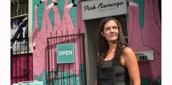 Lisa Suggitt's new business venture Pink Flamingo Pop-Ups opens its doors on East 11th Avenue for the first time Saturday, June 15. Photograph By DAN TOULGOET