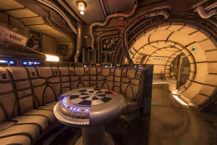 The famous main hold lounge is one of several areas Disney guests will discover inside Millennium Falcon: Smugglers Run before taking the controls in one of three unique and critical roles aboard the fastest ship in the galaxy at Star Wars: Galaxy's Edge. Photo Joshua Sudock/Disney Parks